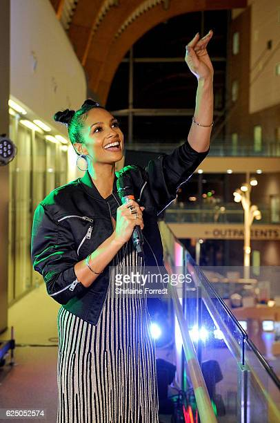 Alesha Dixon performs at Alder Hey Children's Hospital to support the Matalan Get Your Stripes Fundraising Campaign on November 22 2016 in Liverpool...