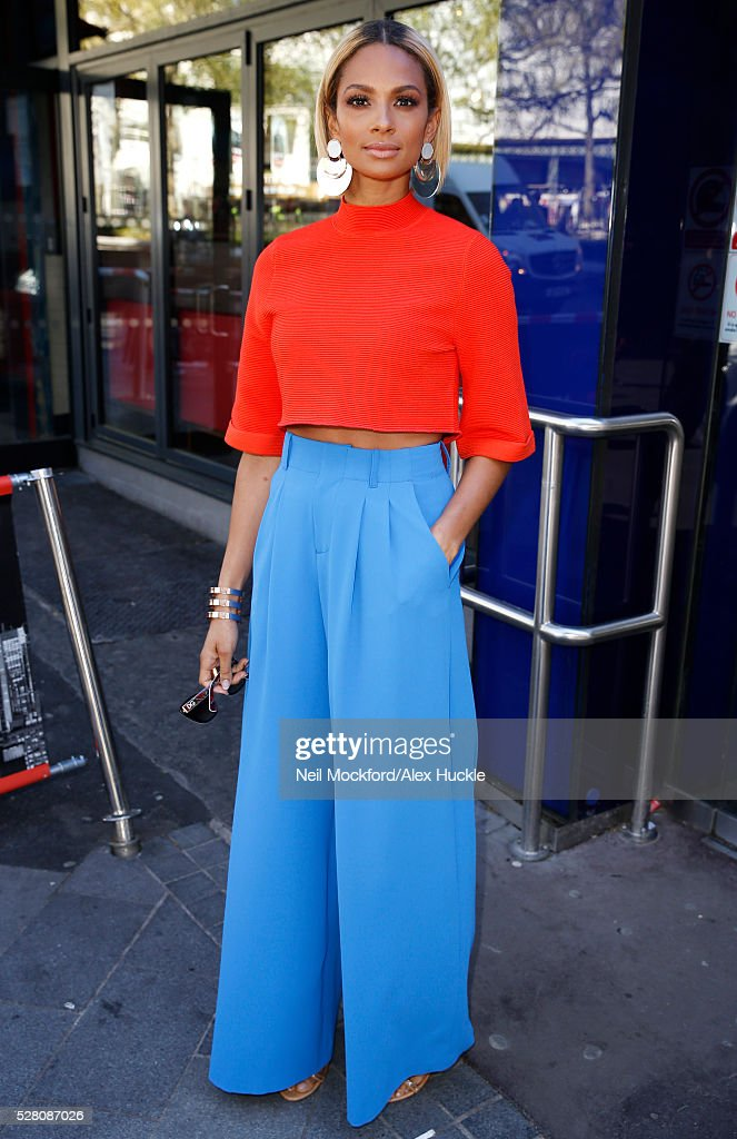 Alesha Dixon seen arriving at the Global Radio Studios on May 4, 2016 in London, England.