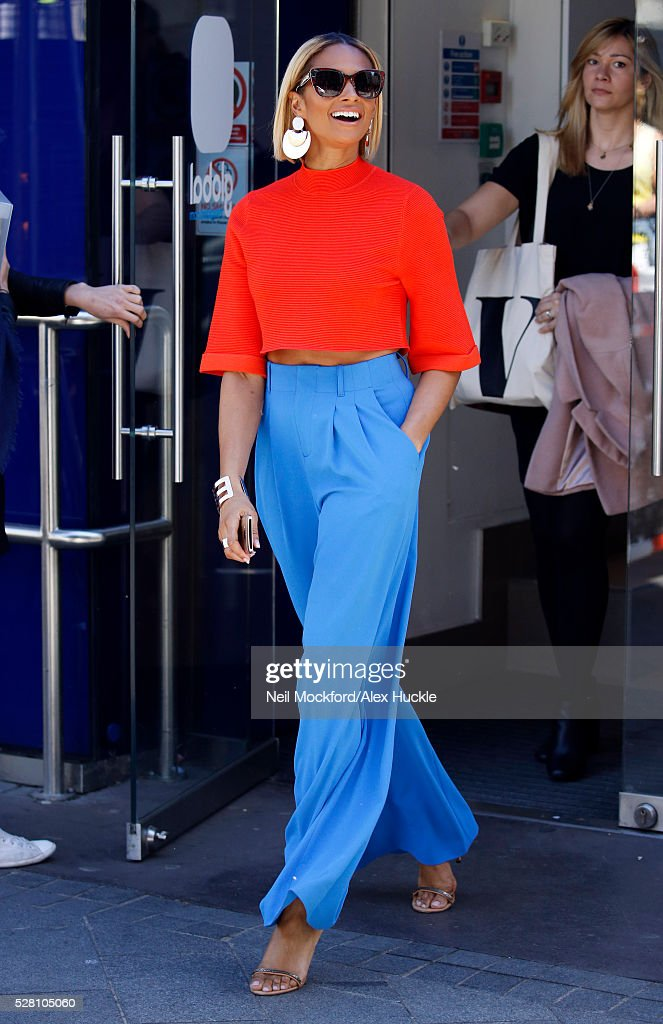 Alesha Dixon seen leaving the Global Radio Studios on May 4, 2016 in London, England.