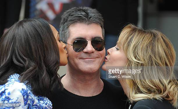 Alesha Dixon Simon Cowell and Amanda Holden attend the press launch for the new series of 'Britain's Got Talent' at ICA on April 11 2013 in London...