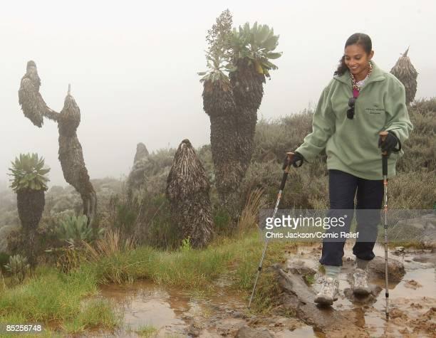Alesha Dixon treks on the fifth day of The BT Red Nose Climb of Kilimanjaro on March 5 2009 near Arusha Tanzania Celebrities Ronan Keating Gary...