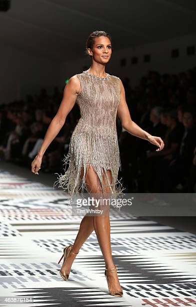 Alesha Dixon walks the runway at the Fashion For Relief charity fashion show to kick off London Fashion Week Fall/Winter 2015/16 at Somerset House on...