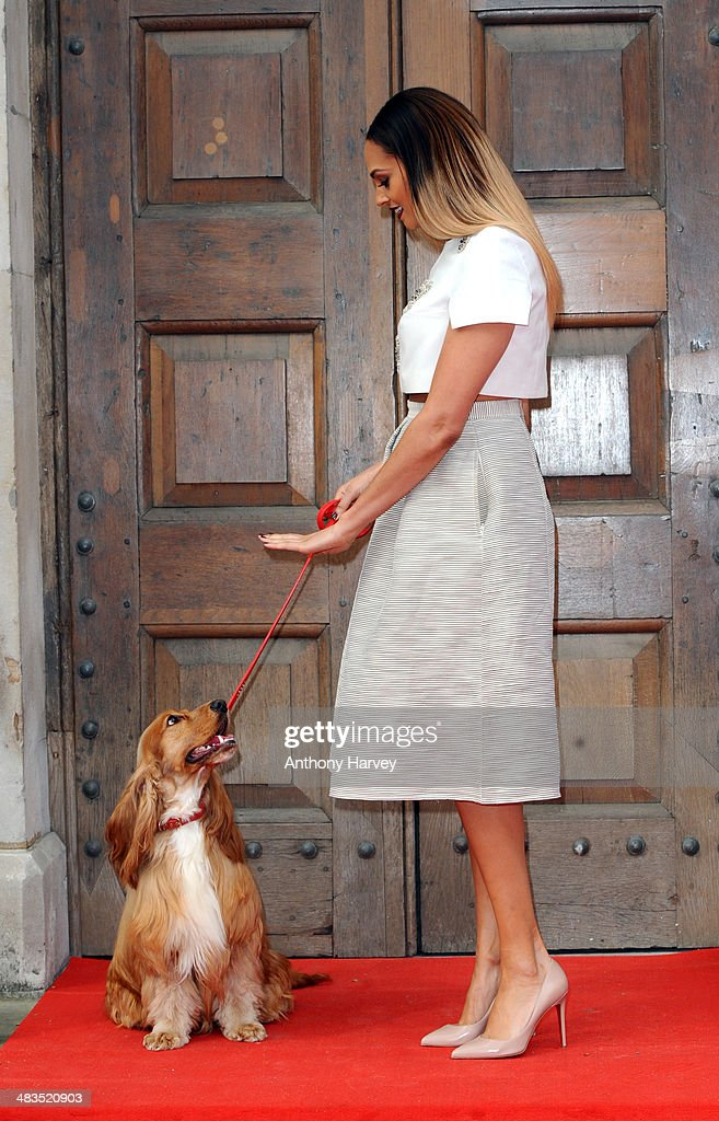 Alesha Dixon with her dog Prince attends a photocall for 'Britain's Got Talent' at St Luke's Church on April 9, 2014 in London, England.