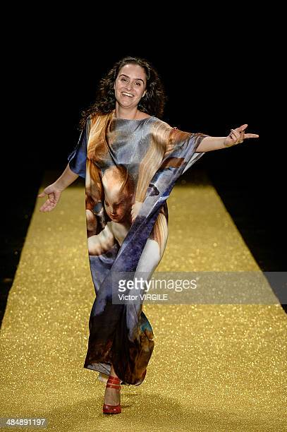 Alessa Migani walks the runway during the Alessa Fashion show at Rio de Janeiro Fashion Week Spring Summer 2014/2015 on April 8 2014 in Rio de...