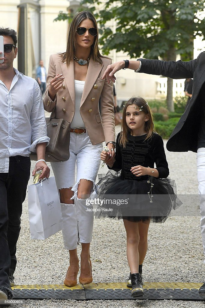 Alessandra Ambrosio and her daughter Anja Mazur are seen leving the Balmain Show during Paris Fashion Week - Menswear Spring/Summer 2017 on June 25, 2016 in Paris, France.