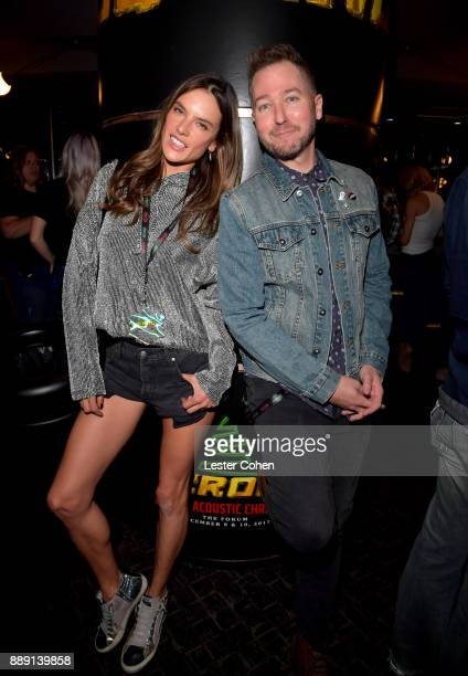 Alessandra Ambrosio and Stryker pose backstage during KROQ Almost Acoustic Christmas 2017 at The Forum on December 9 2017 in Inglewood California