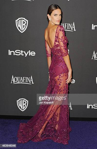 Alessandra Ambrosio arrives at the 16th Annual Warner Bros And InStyle PostGolden Globe Party at The Beverly Hilton Hotel on January 11 2015 in...