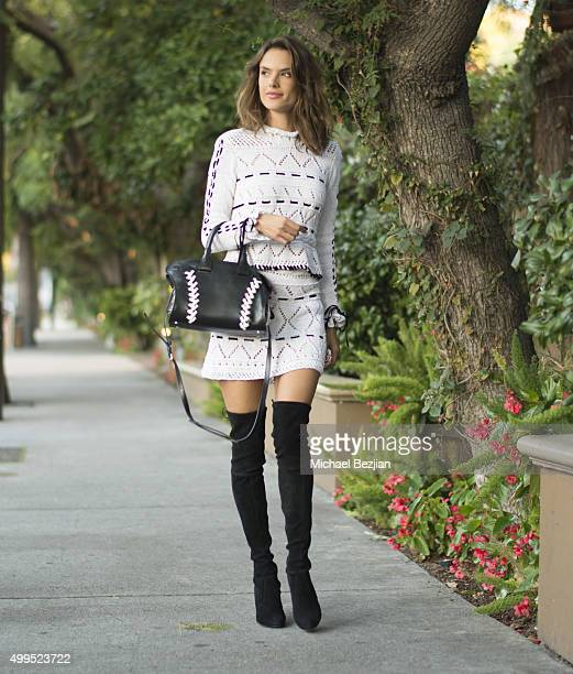 Alessandra Ambrosio arrives for an interview at the Four Seasons on December 1 2015 in Los Angeles California