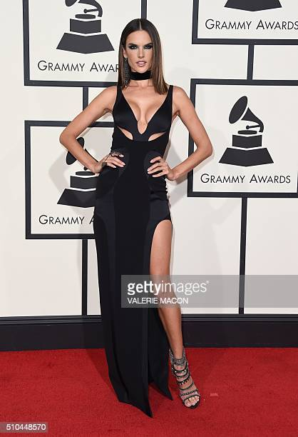 Alessandra Ambrosio arrives on the red carpet for the 58th Annual Grammy music Awards in Los Angeles February 15 2016 AFP PHOTO/ VALERIE MACON / AFP...