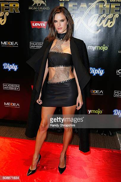 Alessandra Ambrosio arrives to the 13th annual 'Leather Laces' mega party at Super Bowl 50 Night 2 at Metreon on February 6 2016 in San Francisco...