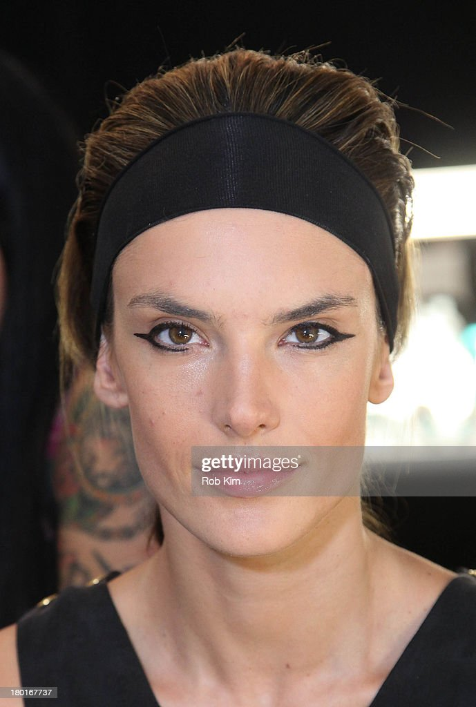 <a gi-track='captionPersonalityLinkClicked' href=/galleries/search?phrase=Alessandra+Ambrosio&family=editorial&specificpeople=203062 ng-click='$event.stopPropagation()'>Alessandra Ambrosio</a> at hair and makeup backstage at the Kaufmanfranco show during Spring 2014 Mercedes-Benz Fashion Week at The Theatre at Lincoln Center on September 9, 2013 in New York City.