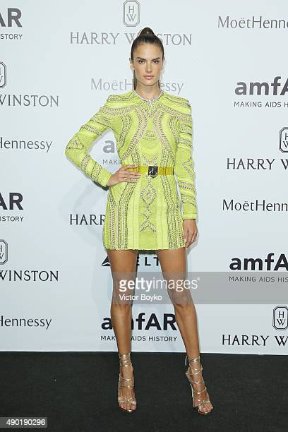 Alessandra Ambrosio attends amfAR Milano 2015 at La Permanente on September 26 2015 in Milan Italy