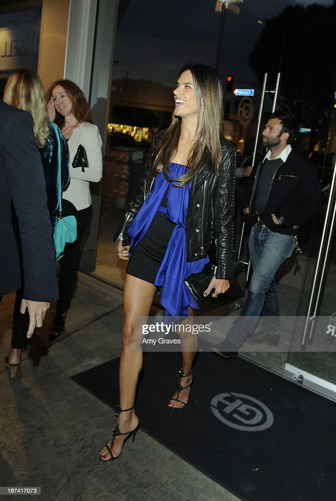 Alessandra Ambrosio attends Nomad Two Worlds and Russell James Private Reception at Guy Hepner Gallery on April 24, 2013 in Hollywood, California.