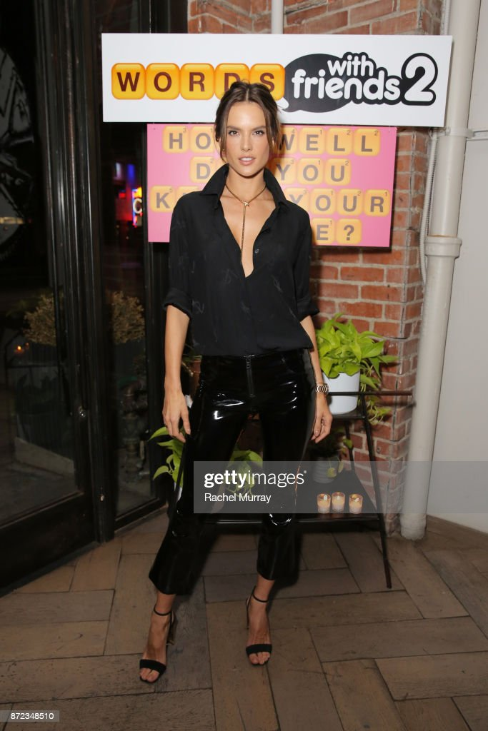 Alessandra Ambrosio attends the Launch of Words with Friends 2 hosted by Hilary and Haylie Duff at Norah Restaurant on November 9, 2017 in West Hollywood, California.