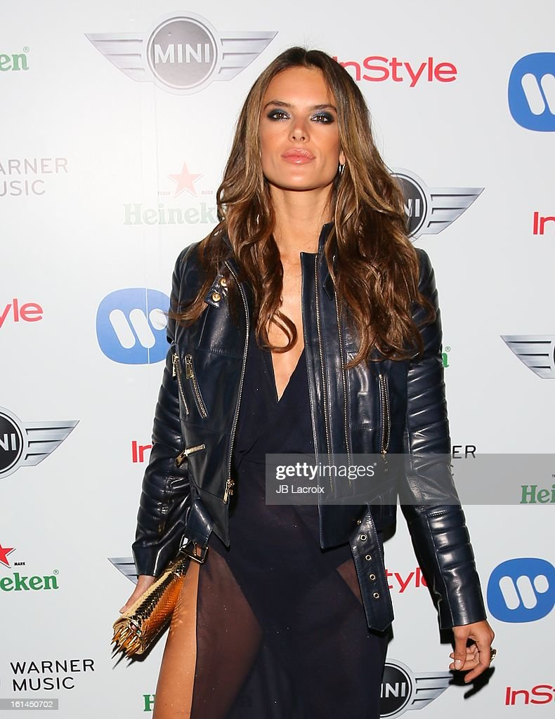 Alessandra Ambrosio attends the Warner Music Group 2013 Grammy Celebration Presented By Mini at Chateau Marmont on February 10, 2013 in Los Angeles, California.