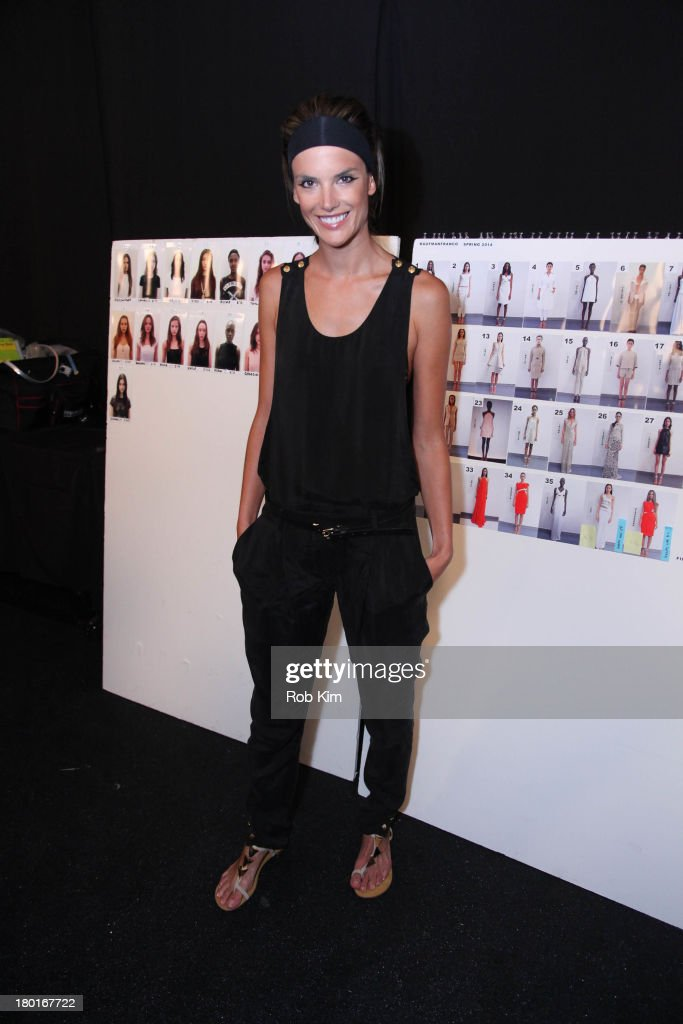 <a gi-track='captionPersonalityLinkClicked' href=/galleries/search?phrase=Alessandra+Ambrosio&family=editorial&specificpeople=203062 ng-click='$event.stopPropagation()'>Alessandra Ambrosio</a> backstage at the Kaufmanfranco show during Spring 2014 Mercedes-Benz Fashion Week at The Theatre at Lincoln Center on September 9, 2013 in New York City.