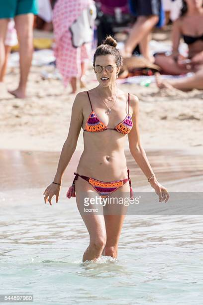 Alessandra Ambrosio enjoys a family day on the beach on July 4 2016 in Ibiza Spain