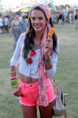 Alessandra Ambrosio enjoys a Fruttare Fruit Bar at the Fruttare Hangout at Coachella New Fruttare Fruit Bars are now available in stores nationwide...