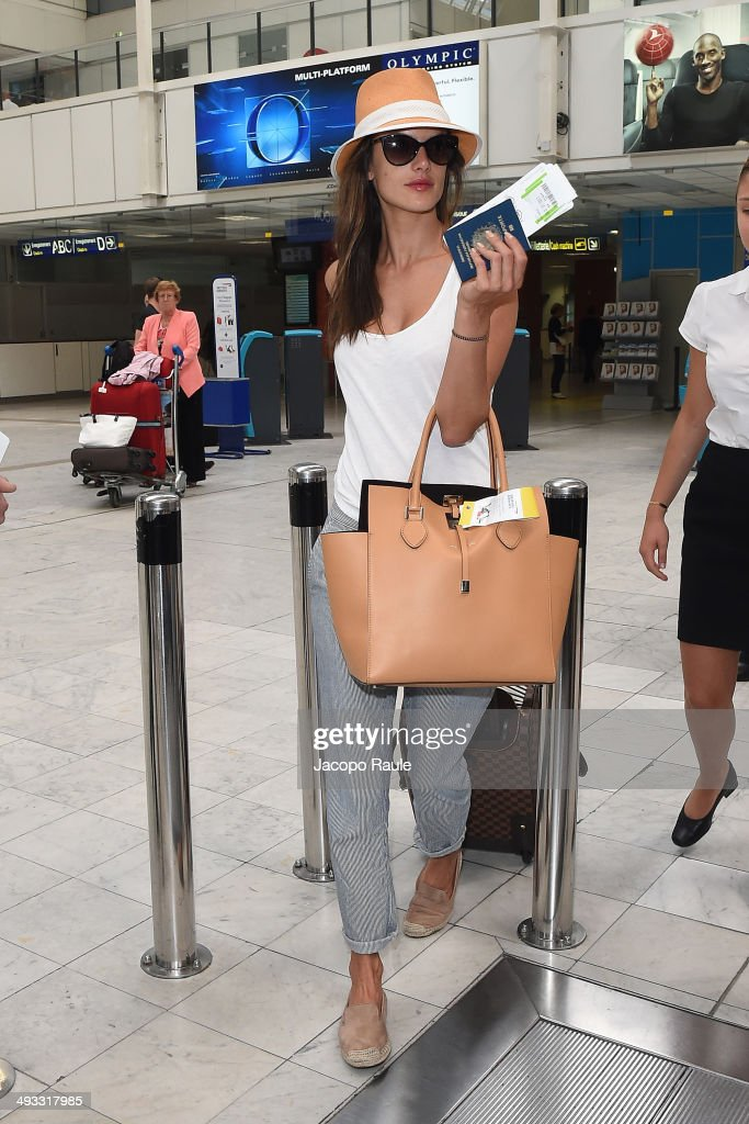 <a gi-track='captionPersonalityLinkClicked' href=/galleries/search?phrase=Alessandra+Ambrosio&family=editorial&specificpeople=203062 ng-click='$event.stopPropagation()'>Alessandra Ambrosio</a> is seen arriving in Nice for the 67th Annual Cannes Film Festival on May 23, 2014 in Nice, France.