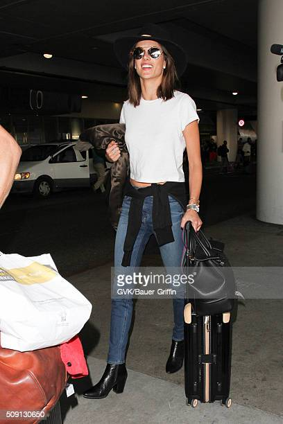 Alessandra Ambrosio is seen at LAX on February 08 2016 in Los Angeles California