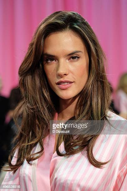 Alessandra Ambrosio is seen backstage at the 2015 Victoria's Secret Fashion Show at the Lexington Armory on November 10 2015 in New York City