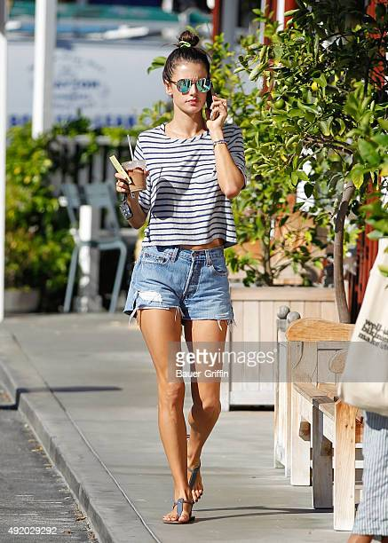 Alessandra Ambrosio is seen getting an iced drink in Brentwood during a 90 degree heat wave on October 09 2015 in Los Angeles California