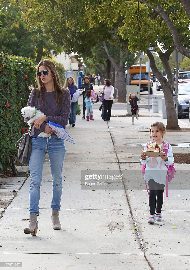 Alessandra Ambrosio is seen with her daughter, Anja Mazur on December 19, 2013 in Los Angeles, California.