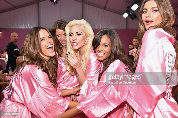Alessandra Ambrosio Lais Oliveira Lady Gaga Cindy Bruna and Valery Kaufman pose backstage prior to the Victoria's Secret Fashion Show on November 30...