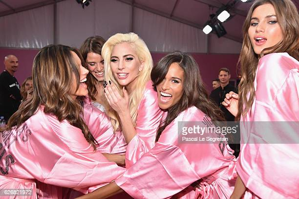 Alessandra Ambrosio Lais Oliveira Lady Gaga Jasmine Tookes and Valery Kaufman pose backstage prior to the Victoria's Secret Fashion Show on November...