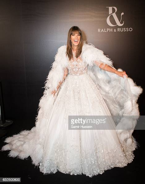 Alessandra Ambrosio poese backstage at the RalphRusso Haute Couture Spring Summer 2017 show as part of Paris Fashion Week on January 23 2017 in Paris...