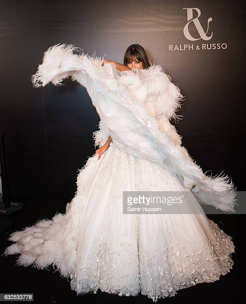 Alessandra Ambrosio poses backstage at the RalphRusso Haute Couture Spring Summer 2017 show as part of Paris Fashion Week on January 23 2017 in Paris...