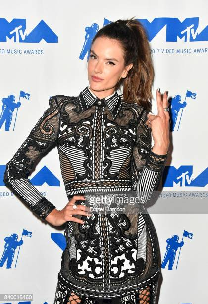 Alessandra Ambrosio poses backstage during the 2017 MTV Video Music Awards at The Forum on August 27 2017 in Inglewood California