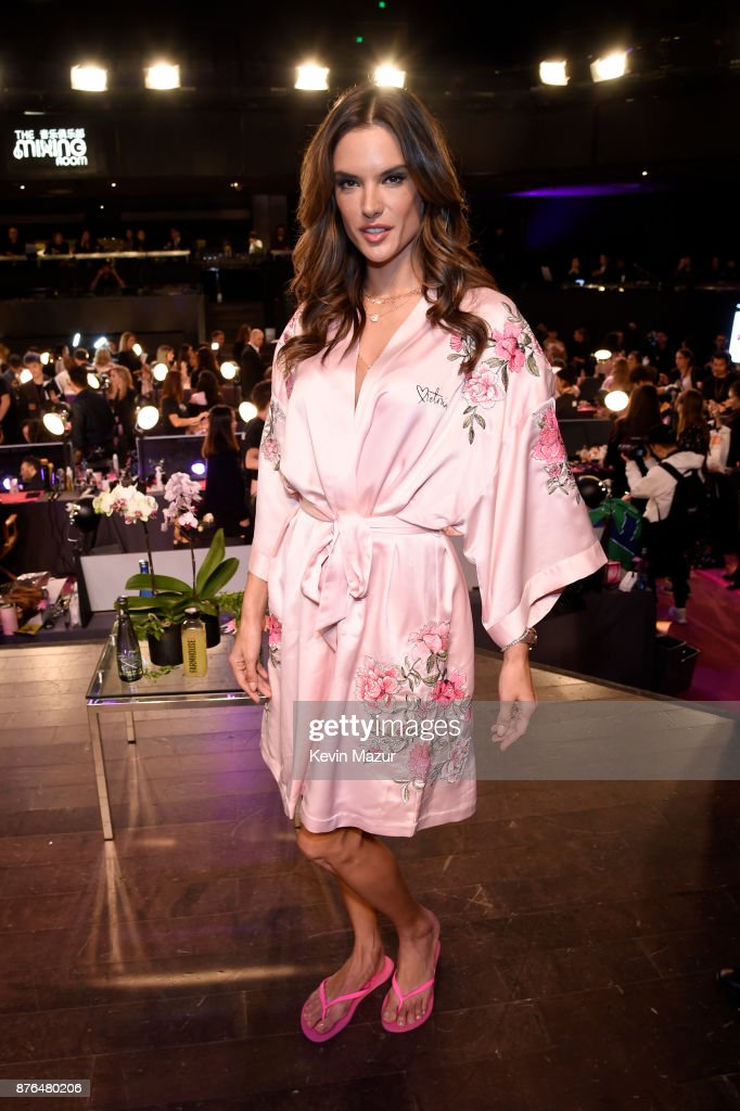 Alessandra Ambrosio poses in Hair & Makeup during 2017 Victoria's Secret Fashion Show In Shanghai at Mercedes-Benz Arena on November 20, 2017 in Shanghai, China.