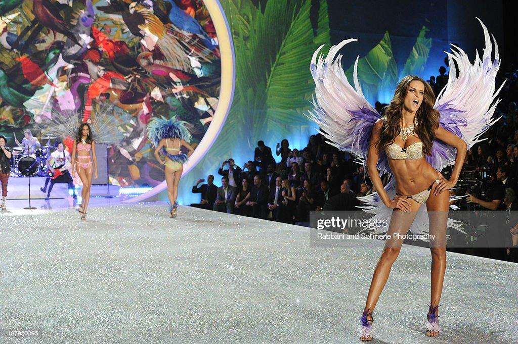 Alessandra Ambrosio walks in the 2013 Victoria's Secret Fashion Show at Lexington Avenue Armory on November 13, 2013 in New York City.