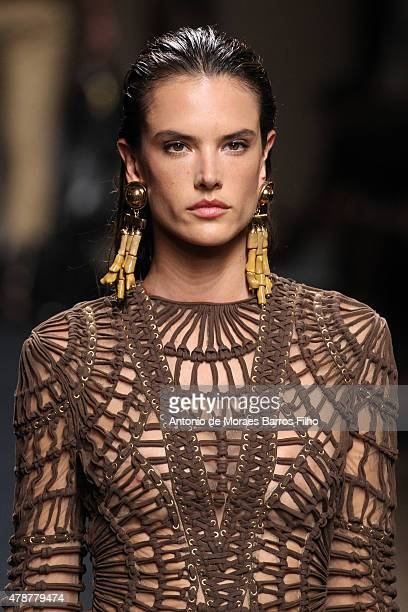 Alessandra Ambrosio walks the runway during the Balmain Menswear Spring/Summer 2016 show as part of Paris Fashion Week on June 27 2015 in Paris France