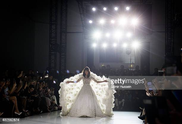 Alessandra Ambrosio walks the runway during the RalphRusso Haute Couture Spring Summer 2017 show as part of Paris Fashion Week on January 23 2017 in...
