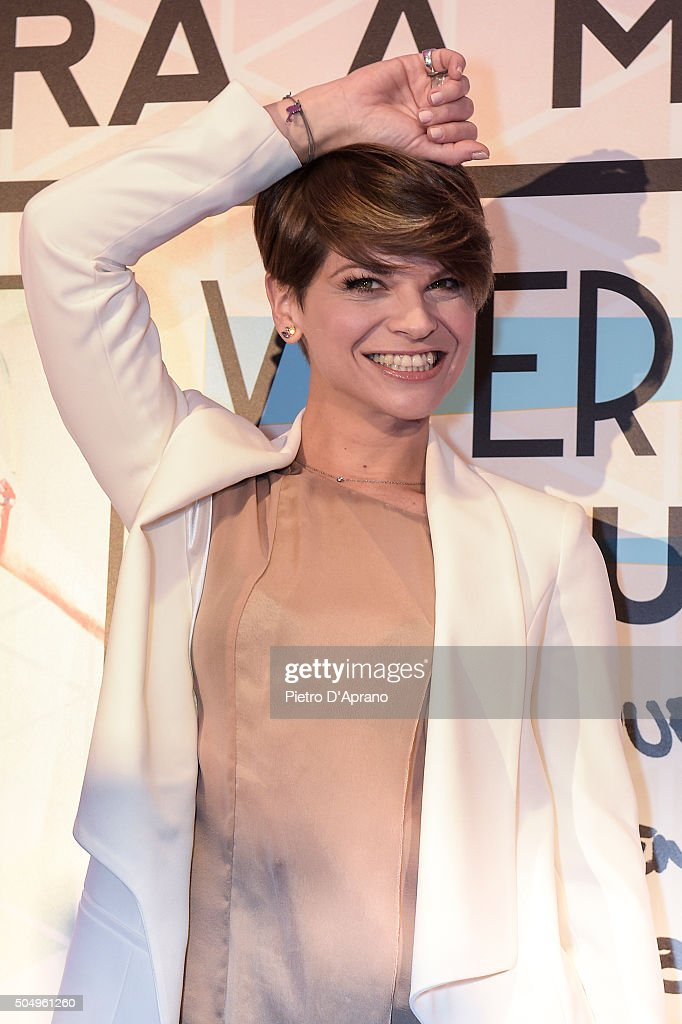 Alessandra Amoroso attends the Vivere A Colori by Alessandra Amoroso presentation on January 14, 2016 in Milan, Italy.