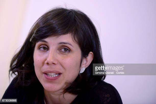 Alessandra D'Onofrio the wife of reporter and documentary filmmaker Gabriele Del Grande during a press conference at the Foreign Press association...