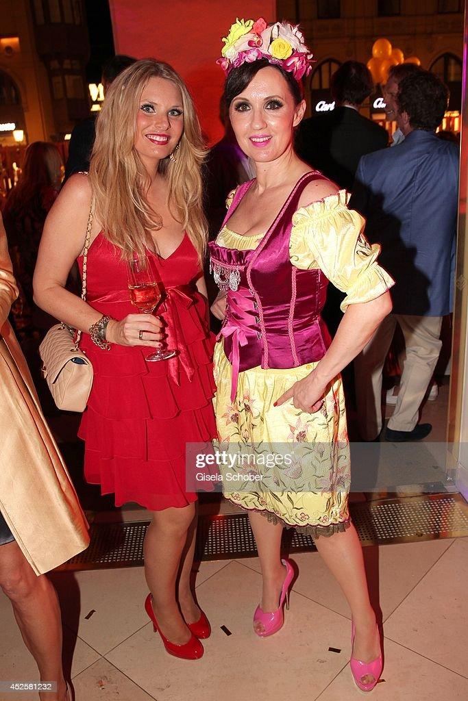Alessandra Geissel and Angelika Zwerenz attend the Eclat Dore summer party at Hotel Vier Jahreszeiten Kempinski on July 23, 2014 in Munich, Germany.