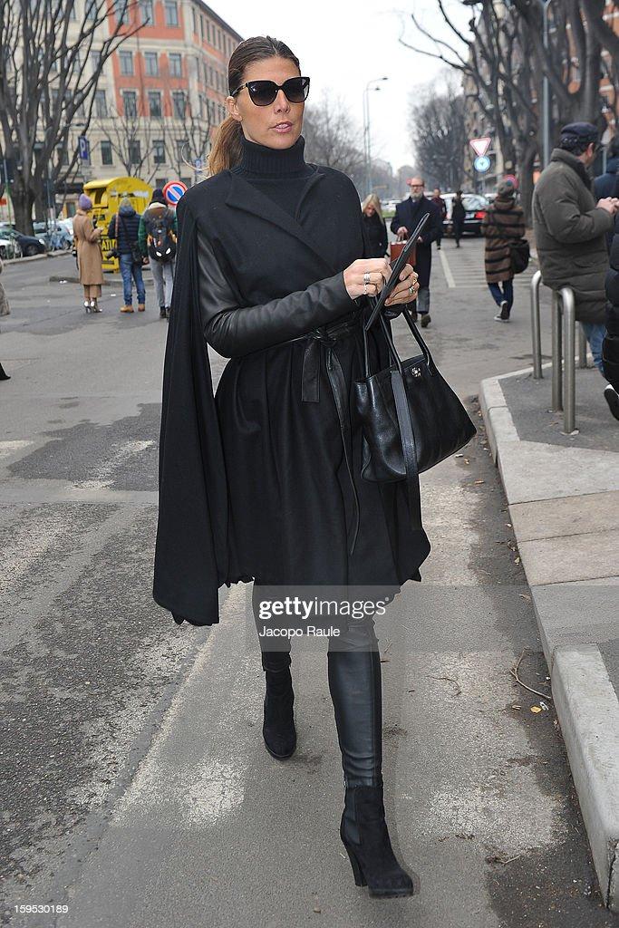 Alessandra Grillo arrives at Giorgio Armani during Milan Fashion Week Menswear Autumn/Winter 2013 on January 15, 2013 in Milan, Italy.