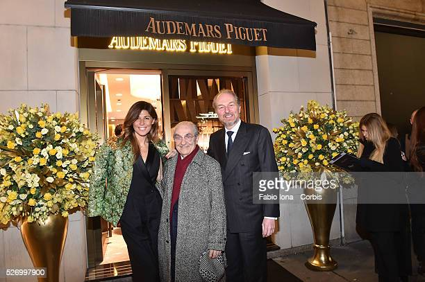 Alessandra Grillo Gualtiero Marchesi and Arturo Artom attend at Audemars Piguet launch the Royal Oak Yellow Gold collection at AP boutique on...