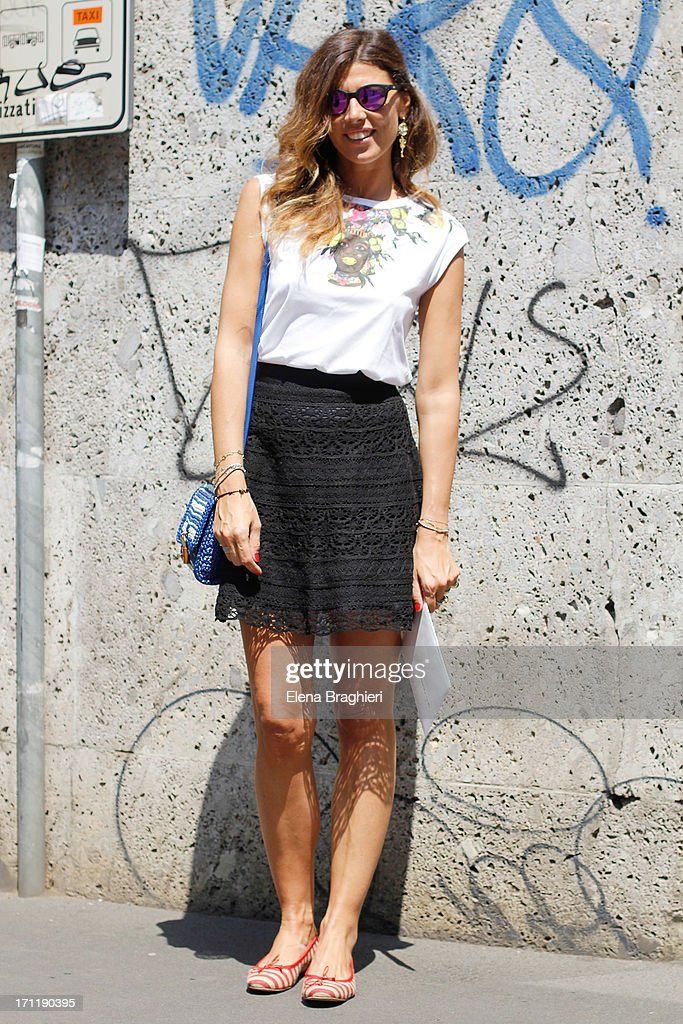 PR Alessandra Grillo is wearing a Dolce & Gabbana total look during Milan Fashion Week Menswear Spring/Summer 2014 on June 22, 2013 in Milan, Italy.