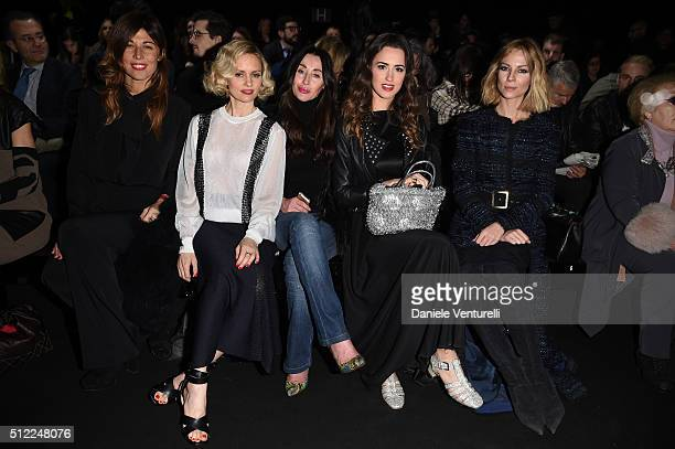 Alessandra Grillo Justine Mattera guest Gresy Daniilidis and Roberta Ruiu attend the Anteprima show during Milan Fashion Week Fall/Winter 2016/17 on...