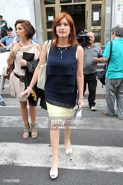 Alessandra Guarini the defense lawyer of Emilio Fede leaves the courthouse after the verdicts in the 'Ruby bis' case on July 19 2013 in Milan Italy...