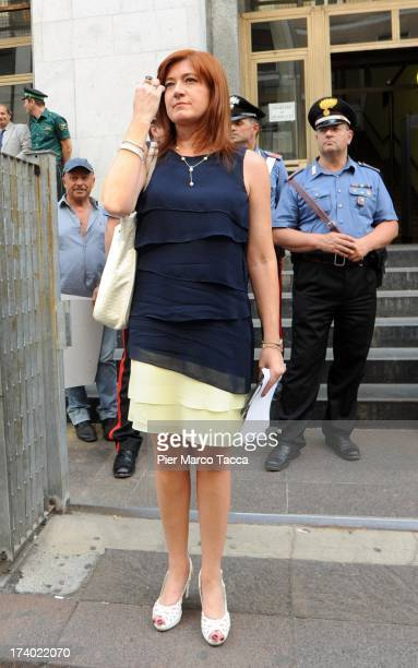 Alessandra Guarini the defense lawyer of Emilio Fede speaks to waiting media outside the courthouse after the verdicts in the 'Ruby bis' case on July...