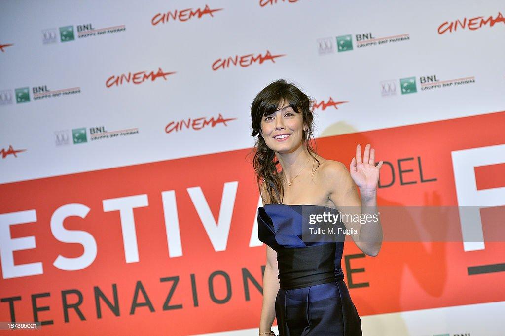 Alessandra Mastronard attends the 'L'Ultima Ruota Del Carro' Photocall during the 8th Rome Film Festival at the Auditorium Parco Della Musica on...