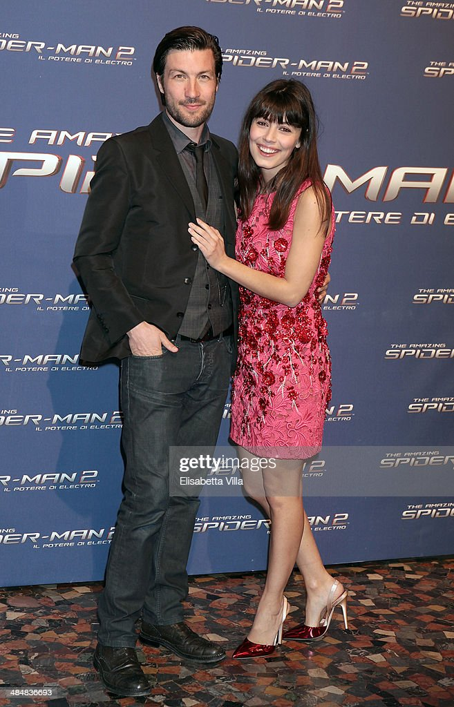 Alessandra Mastronardi (R) and Liam McMahon attend 'The Amazing Spider-Man 2: Rise Of Electro' Rome Premiere at The Space Moderno Cinema on April 14, 2014 in Rome, Italy.