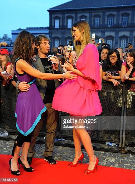 Alessandra Mastronardi Ludovico Fremont and Elena Santarelli attend the MTV Italy 2008 TRL awards in Plebiscito Square on May 17 2008 in Naples Italy
