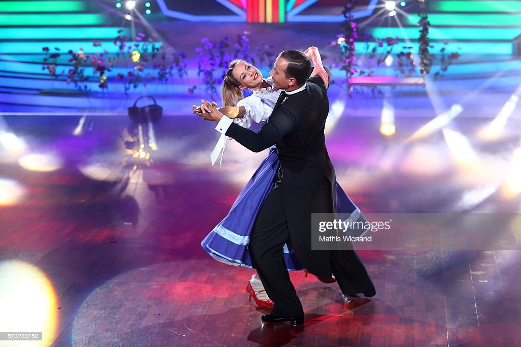 Alessandra MeyerWoelden and Sergiu Luca perform on stage during the 6th show of the television competition 'Let's Dance' on April 22 2016 in Cologne...