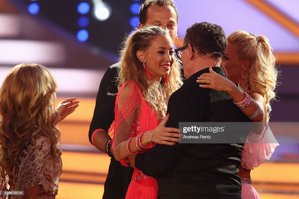 Alessandra Meyer-Woelden reacts after the 8th show of the television competition 'Let's Dance' on May 06, 2016 in Cologne, Germany.